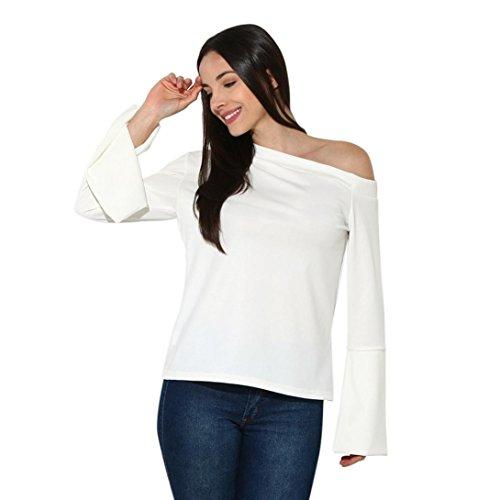 TOPUNDER Women White Blouse Flare Long Sleeve Shirt