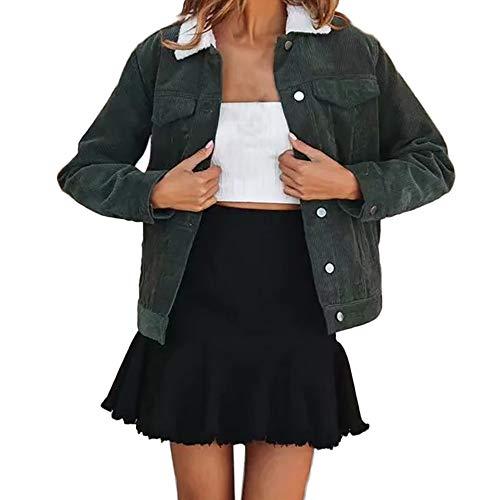 JESPER Women Winter Corduroy Solid Thickening Coats Sherpa Collar Jackets Outercoat Pockets Green