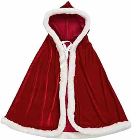 AOFITEE Unisex Kids Cute Santa Cloak Velvet Hooded Cape Robe Christmas Costume, 31.5 inches