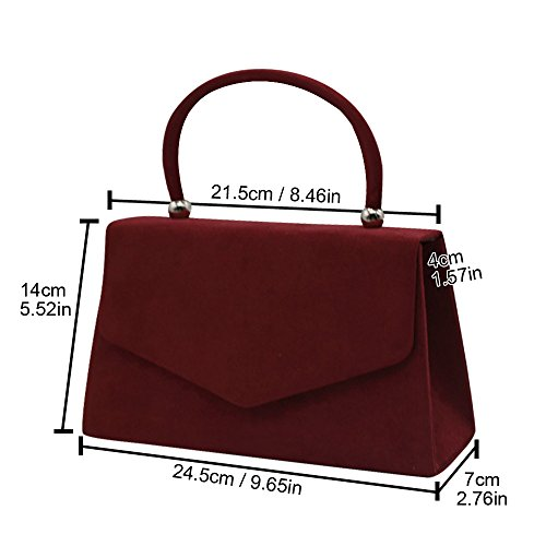 Shoulder Evening Bag Handbag Suede Coral Velvet Bag Women's Cckuu Burgundy Clutch Prom Envelope 4zqwggx
