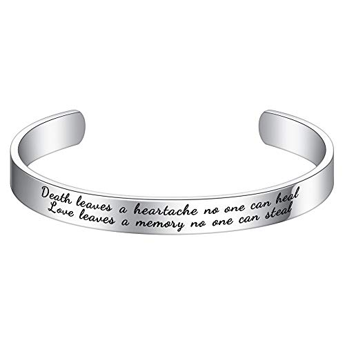 Loss Pet Sympathy Gifts Bracelet - Death Leaves a Heartache No One Can Heal Love Leaves a Memory No One Can Steal Bangle Bracelet Sympathy Gift For Pets For Loss Of Dogs Or Cats In Memory Keepsakes (Death Solves All Problems No Man No Problem)