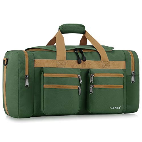 Gonex 45L Travel Duffel, Gym Sports Luggage Bag Water-Resistant Many Pockets(Dark Green)