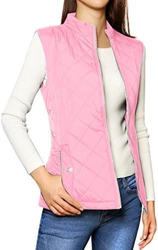 Allegra K Women's Stand Collar Lightweight Gilet Quilted Zip Vest