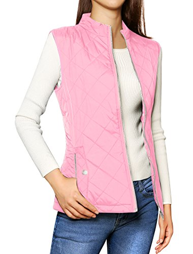 Allegra K Women's Stand Collar Lightweight Gilet Quilted Zip Vest Pink Medium ()