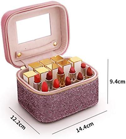 EMATU 1DD1T Make-up-Fall, tragbarer Organizer Make-up Bag Aufbewahrungsbox mit Spiegel - große Kapazität und verstellbare Trennwände für Kosmetik Make-up Pinsel Lippenstift-Schmuck