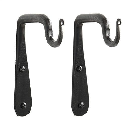 Set of 2 Wall Mounted Hand Forged Straight Wrought Iron Hanging Coat Hook Hanger Rustic Vintage Style Bracket ()