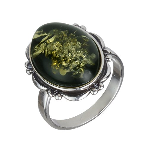 Shape Large Oval Ring (Sterling Silver and Baltic Green Oval Amber Ring size: 7)