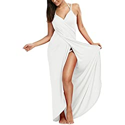 Lkous Women's Spaghetti Strap Backless Beach Dress Bikini Cover Up,XX-Large, White