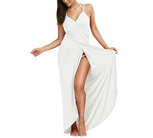 Lkous Women's Spaghetti Strap Backless Beach Dress Bikini Cover Up,XX-Large, White