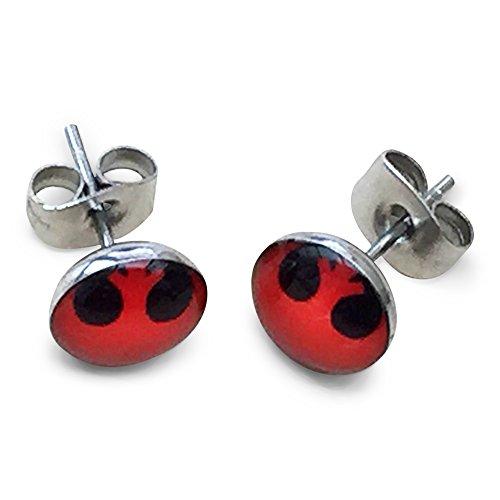 8mm Rebel Alliance Rouge et Noir Boucles d'oreilles. Acier inoxydable
