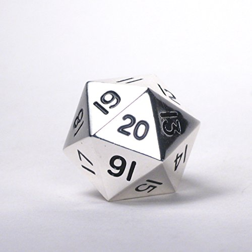 Game Dice Of Life (Massive! Solid Metal Jumbo 35mm d20 Spin Down Life Counter Dice Die Chrome Silver MTG)