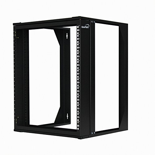 NavePoint 12U Wall Mount IT Open Frame 19' Rack with Swing Out Hinged Gate Black