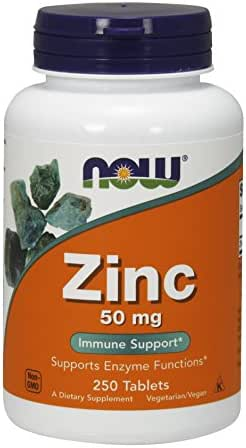 Now Foods Zinc Gluconate 50mg Tablets, 250-Count (Pack of 3)