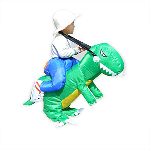Funny Kids Inflatable Dinosaur Costume Set with Hat Children Fantasy Riding Tyrannosaurus Rex Cosplay Dress up Suit Props