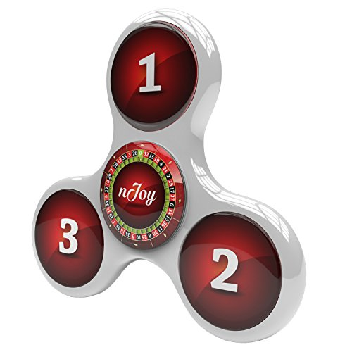 Fidget Tri Spinner Toy with Roulette Design by nJoy – EDC Anti Fidget Hand Spinner with Hybrid Ceramic Bearing For ADD ADHD Anxiety- Premium Toy for Adults and Children- White – 5 Min Spin Time