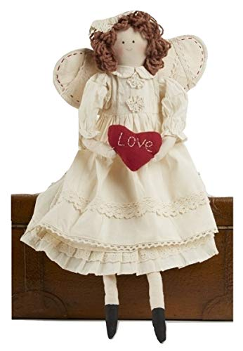 Angel Shelf Sitters - Delton Products Primitive Angel with Heart Shelf Sitter Doll, 21 Inches