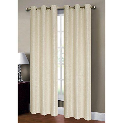 Window Elements Savannah Jacquard Grommet Curtain Panel Pair, 76 x 84-Inch, Ivory (Window Covering Ideas)