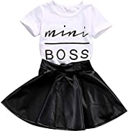 i-Auto Time 1-5T Toddler Kids Baby Girl Clothes Mini Boss Letters Tops +Leather Skirt Dress Outfits