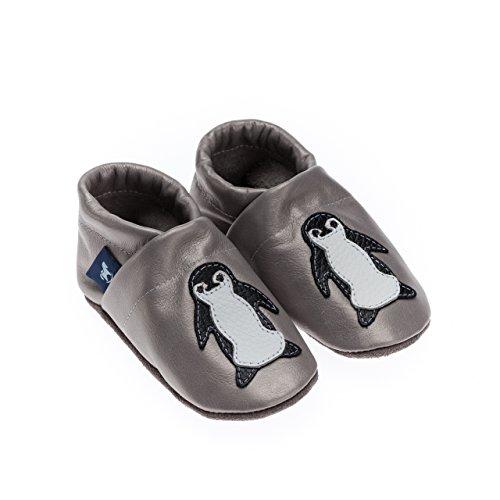 pantau Leder Krabbelschuhe Lederpuschen Babyschuhe Lauflernschuhe mit Pinguin, 100% Leder GRAU_SCHWARZ_WEISS