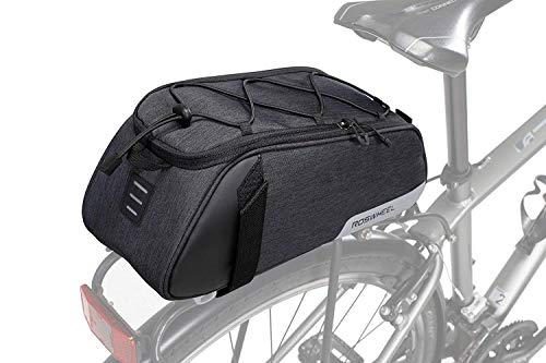 Roswheel Bike Rear Seat Bag, Bicycle Backseat Bag Cycling Pannier Rear Rack Trunk Bag Chest Bag Water Resistant 8L Massive Capacity for Outdoor Traveling Hunting Commuting (Black)