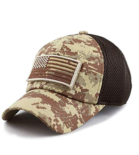 - Fitted Tactical Operator Hat w/American Flag Patch (Micro Mesh) Baseball Cap for Men and Women Velcro Back (Digi Desert)