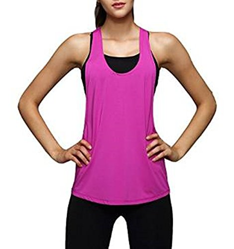 Areshion - Camisa deportiva - chaqueta - Básico - Sin mangas - para mujer RoseRed