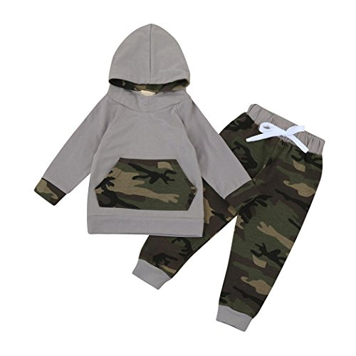 Price comparison product image Hot Sale! WuyiMC Newborn Baby Boy Outfits Kids Camouflage Long Sleeve Hoodie + Pants Clothing Sets (6-12 Months, Camouflage)