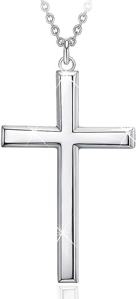 "GOXO Men's 925 Sterling Silver Cross Pendant Necklace for Women Men, 18"" or 24"""
