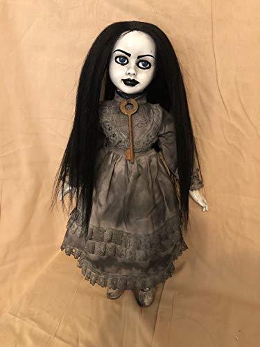 OOAK Pretty Black Hair w Key Creepy Horror Doll Art by Christie Creepydolls]()