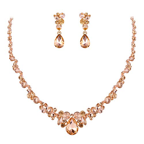 EVER FAITH Rhinestone Crystal Elegant Bridal Floral Teardrop Necklace Earrings Set Champagne Rose Gold-Tone