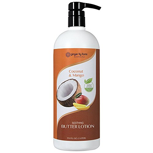 Ginger Lily Farms Botanicals Soothing Butter Lotion Coconut & Mango, Paraben, Phosphate and Sulfate Free, 1 Liter
