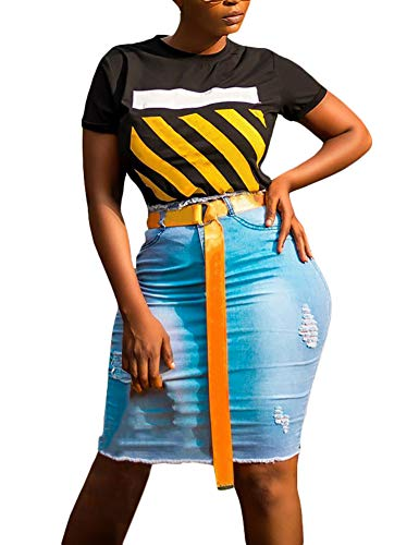 LAJIOJIO Plus Size High Waist Pencil Denim Jean Mini Skirt for Teen Blue Medium