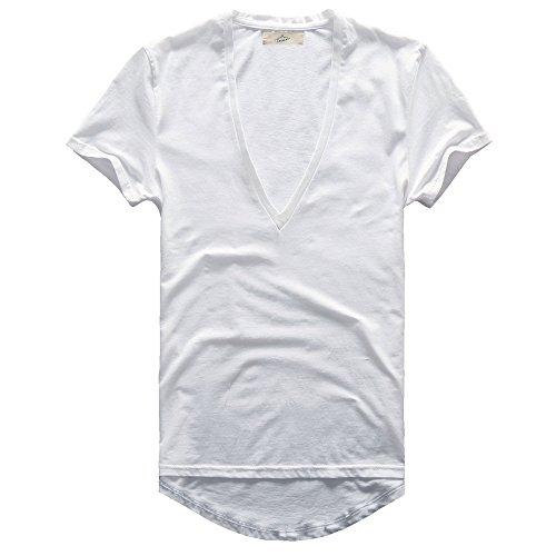 (Zecmos Mens Deep V Neck T-Shirt Unisex Tshirt Male Vneck Tee Top White XXL)