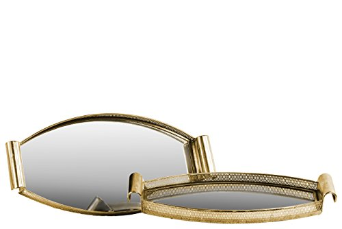 Urban Trends Elliptical Tray with Mirror Surface and Handle Pierced Metal Finish (Set of 2), Gold