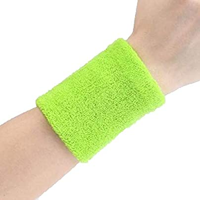 JIAJIAKONG Sports Wristband Squash Badminton Terry Cloth Wrist Sweat Bands for Tennis Basketball Gym 10cm 8cm Multi-color optional Green Estimated Price £10.99 -