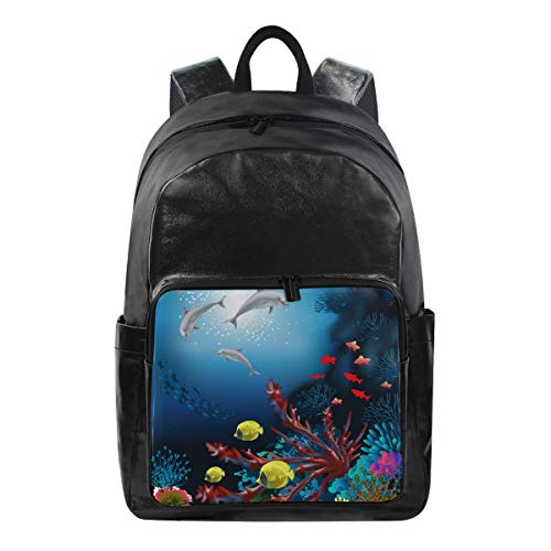 JOYPRINT Waterproof Backpack Ocean Sea World Dolphin Fish, Computer Book Bag Daypack for Travel School Camping Sport
