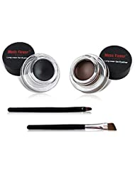 2 in 1Black and Brown Gel Eyeliner Set Water Proof Smudge...