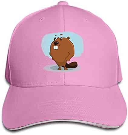 eb05ed3bb39 iloue Cartoon Beaver Flat Brim Hats Snapback Cap Plain Caps for Men Women
