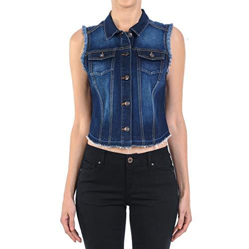 (Women's Plus Size Sleeveless Button Up Cropped Denim Vest Jacket in Dark Blue Size 1XL)