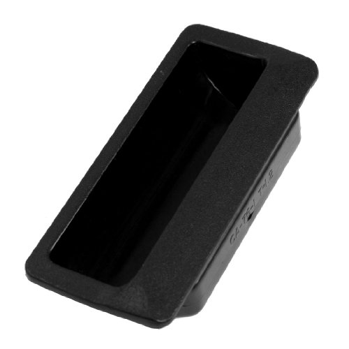 (Uxcell Rectangle Black Plastic Flush Door Pull Handle for Cabinet Drawer)