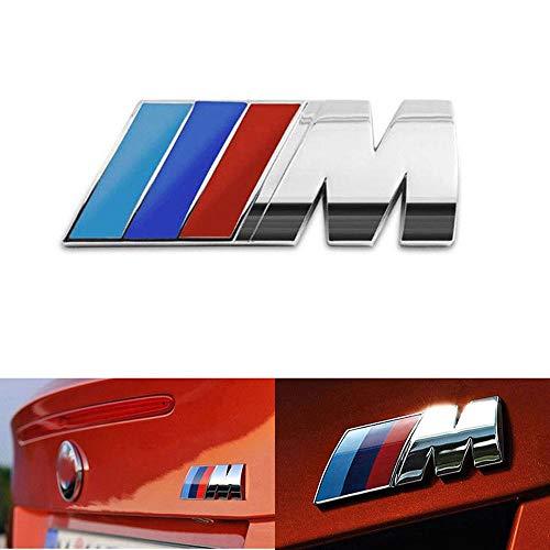 BMW M Power Badge Tri Color, Rear Emblem Car Decal Logo Sticker for All Models BMW 1 3 5 7 Series E30 E36 E46 E34 E39 E60 E65 E38 X1 X3 X5 X6 Z3 Z4 (Silver)