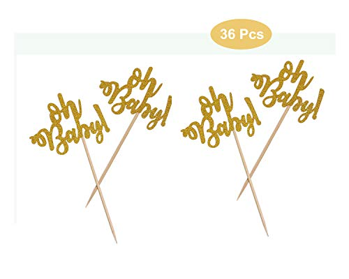 Penta Angel 36 Pcs Gold Glitter Oh Baby Cupcake Toppers Cake Topper Baking Pick Sticks for Baby Shower Boy Girl Birthday Wedding Party Decorations (36 pcs)