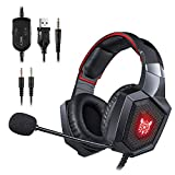 ONIKUMA Gaming Headset - Updated K8 Headset Gaming for PS4 New Xbox One, Stereo Over-ear Headphones & Noise-canceling Microphone with Mic for PC Computer Mac Laptop Nintendo Switch Games (Red)