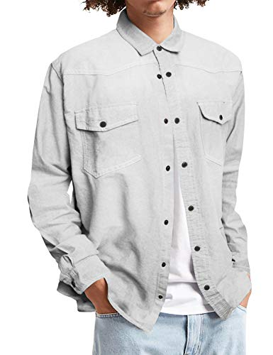Mens Long Sleeve Denim Shirt Slim Fit Casual Vintage Chambray Long Sleeve Button Down Shirt with Pocket (Pearl Snap Vintage)