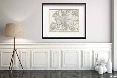 (1860 Dufour of Europe Under Charlemagne Map|Vintage Fine Art Reproduction|Size: 18x24|Ready to Frame)