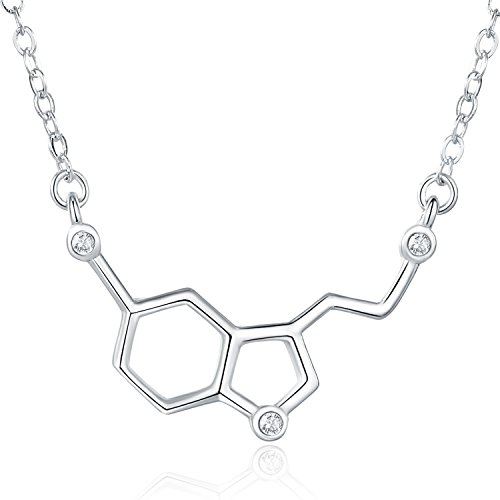Rosa Vila Happiness Serotonin Molecule Necklace with Gems for Women, Ideal Necklaces for Teacher, Professor, Chemistry Grad, and Science Jewelry Lovers (Silver) (Jewelry Happiness)