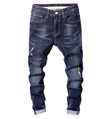 Distrutti Strappati E Pantaloni Casual Blau Jeans Lunghi Confortevole Inverno Autunno Uomo In Semplice Da Slim Denim Abbigliamento gB6g7q