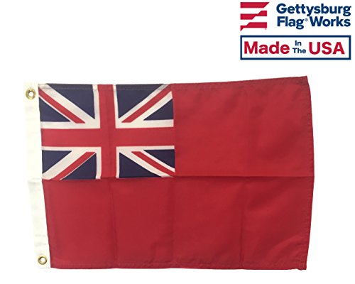 12x18 British Red Ensign Boat Flag, Durable All-Weather Nylon with Grommets for Outdoors, Made in USA