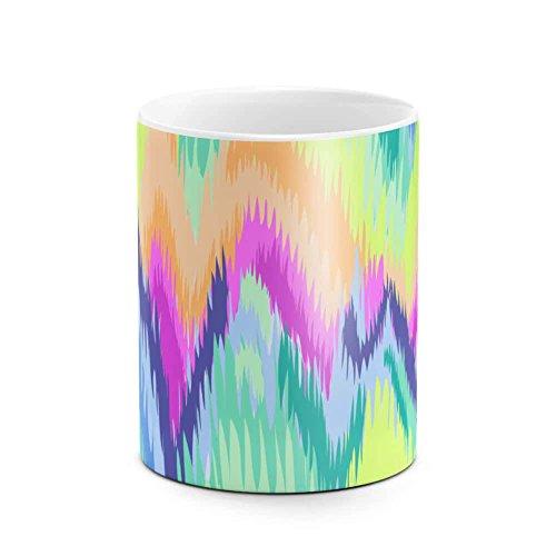 Trippy Soap Film Rainbow Color Holographic Print Ink Leak Tie Dye Best Birthday or Anniversary Gifts Unique Present Idea Funny Christmas Gift Idea White Heat Resistant Ceramic Tea Coffee Mug - 11oz -
