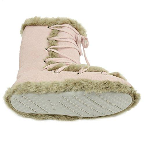 Casa Pantofole Donne Inverno Caldo Faux Pelliccia Casa Coperta Scarpette Scarpe Rosa